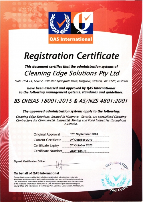 ISO Certification BS OHSAS 18001:2015 Cleaning Edge