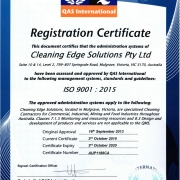 ISO Certification ISO 9001:2015 Cleaning Edge