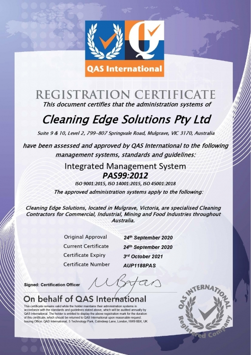 Cleaning Edge Solutions Registration Certificate